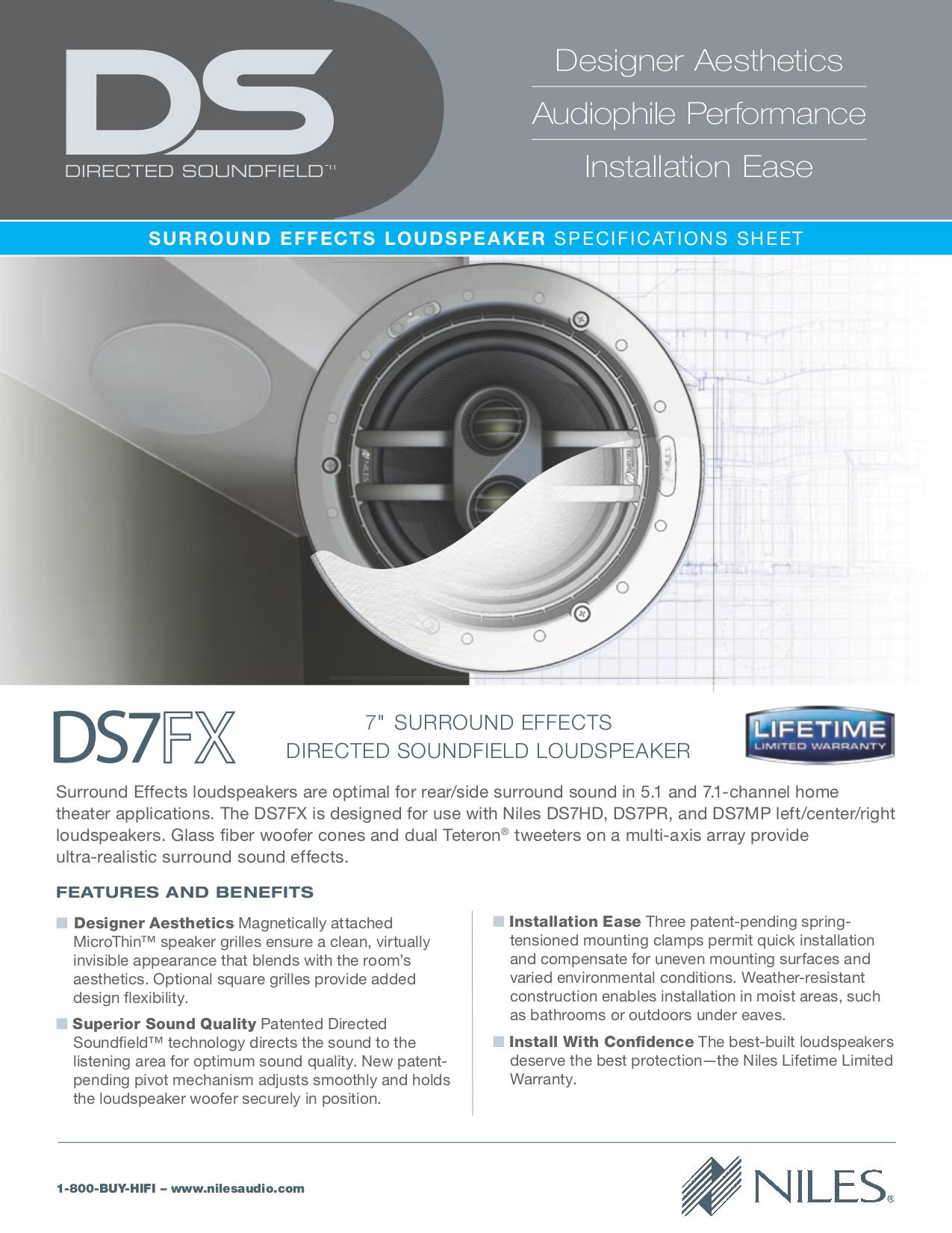 pdf for Niles Speaker DS7FX manual