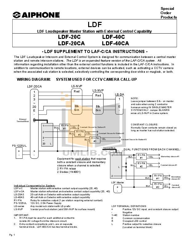 pdf for Aiphone Other LDF-20CA Intercoms manual