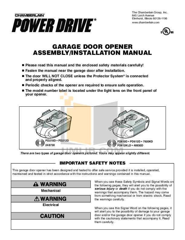 Download Free Pdf For Chamberlain 1000e Garage Door