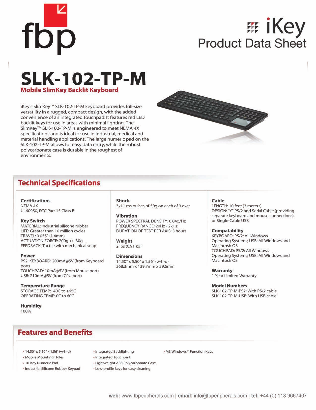 pdf for iKey Keyboard SLK-102-TP-M manual