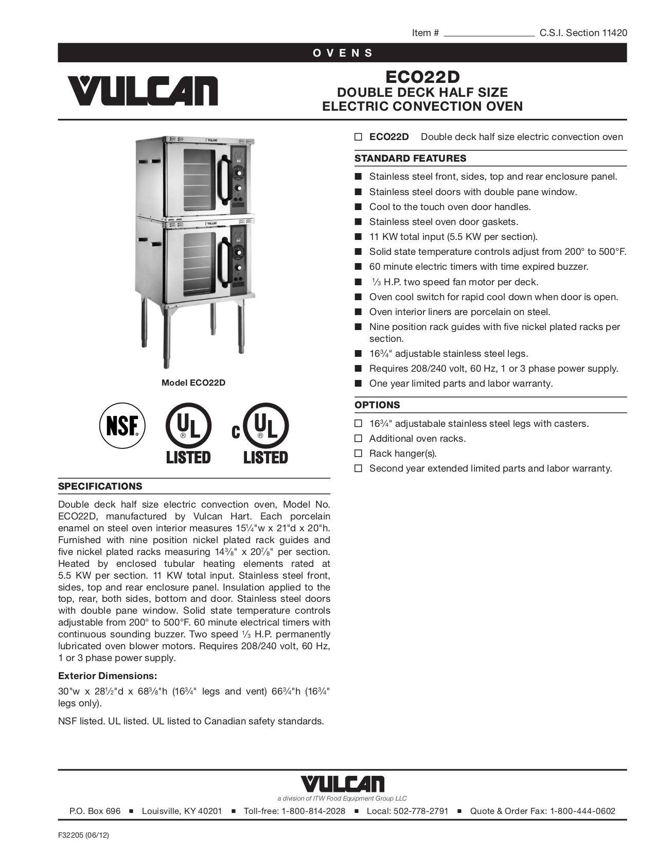 pdf for Vulcan Oven ECO22D manual