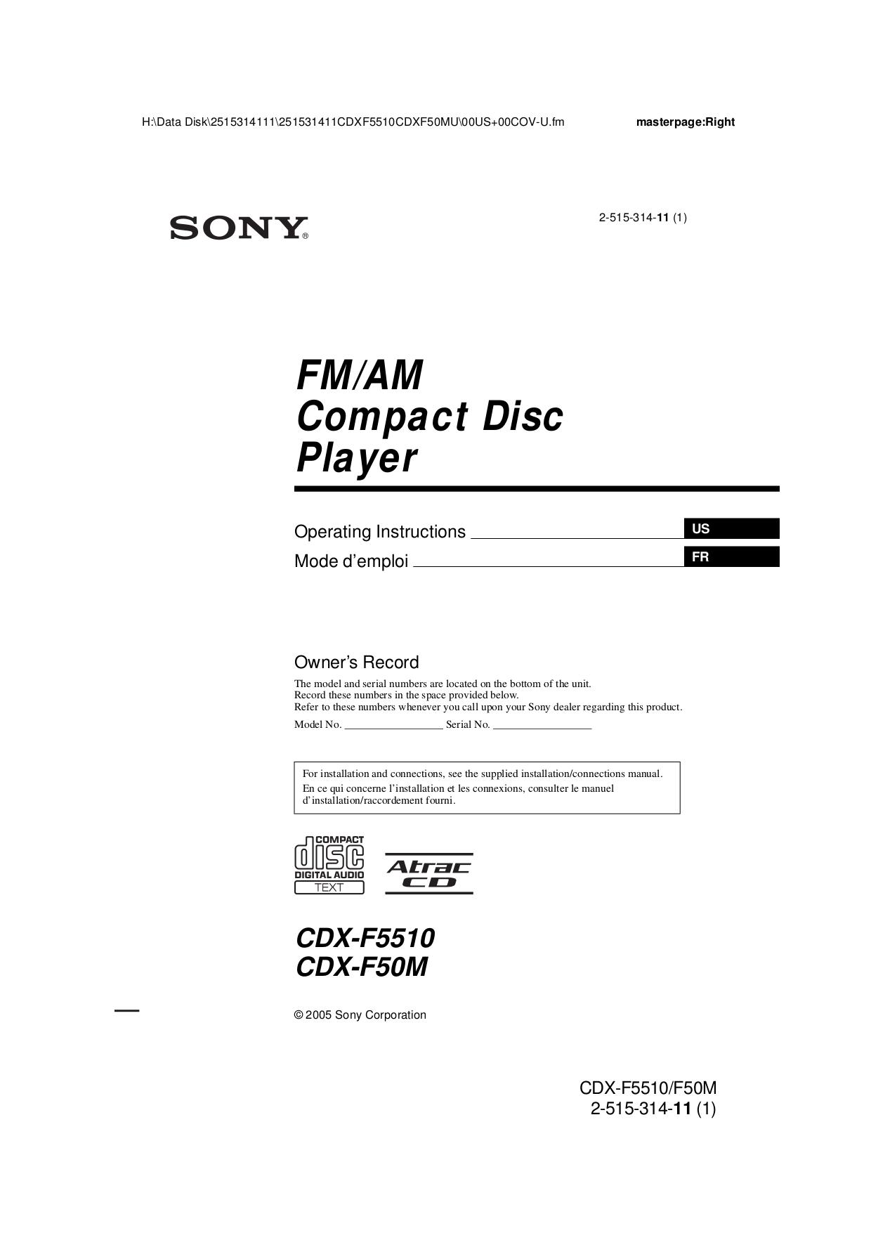 download free pdf for sony cdx f5510 car receiver manual rh umlib com Sony Car Radio CD Player Sony Xplod CD Receiver