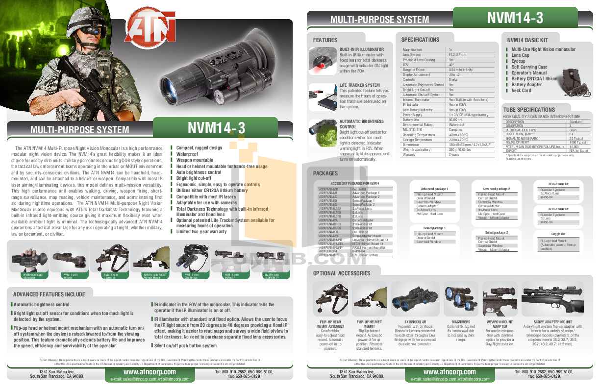 pdf for Atn Binocular NVG7-3 manual