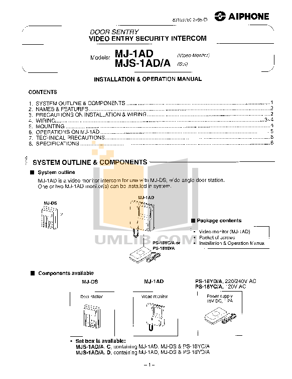 pdf for Aiphone Other MJ-1AD Intercoms manual