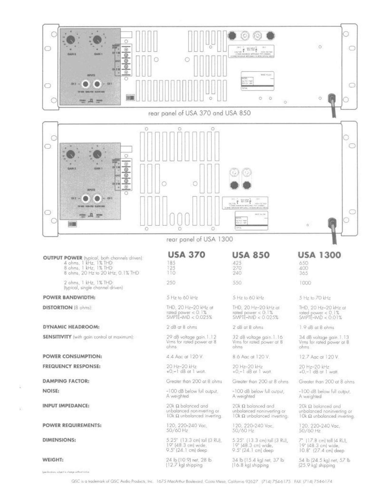 pdf for QSC Amp USA 370 manual