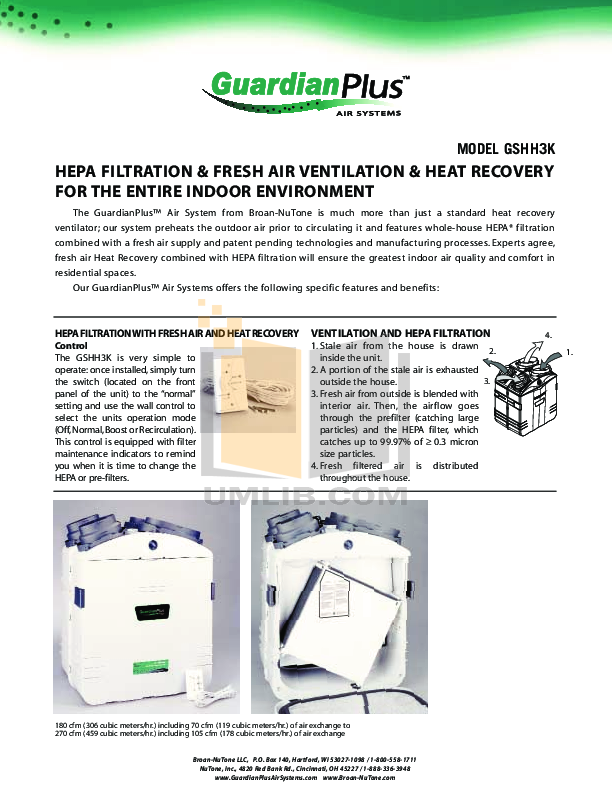 pdf for Broan-NuTone Other GSHH3K Air Purifiers manual