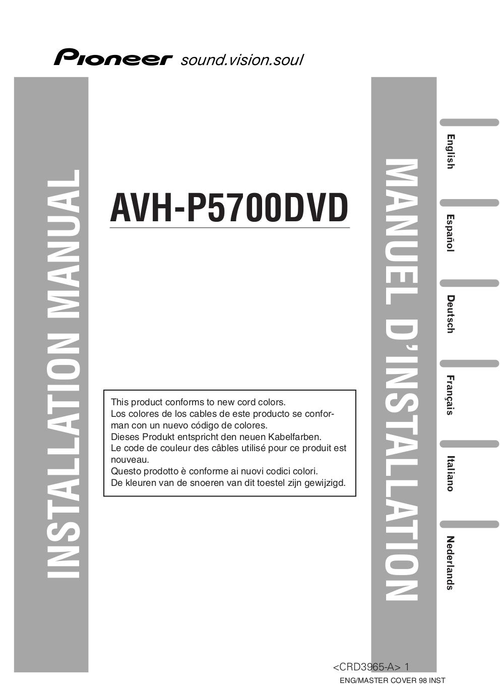 download free pdf for pioneer avh p5700dvd car video manual rh umlib com Pioneer AVH 5700 Diagram AVH- P1400DVD