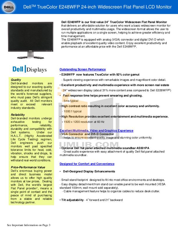 pdf for Dell Monitor E228WFP manual