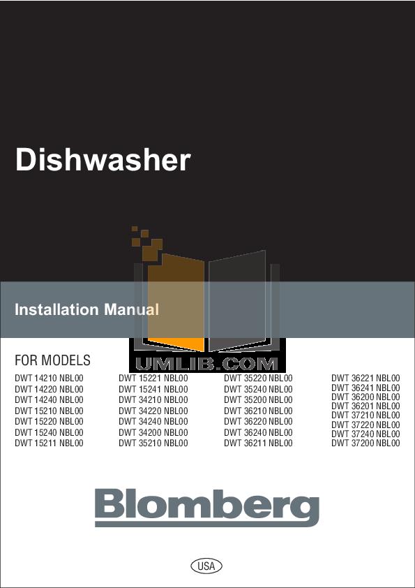 pdf for Blomberg Dishwasher DWT37200 manual