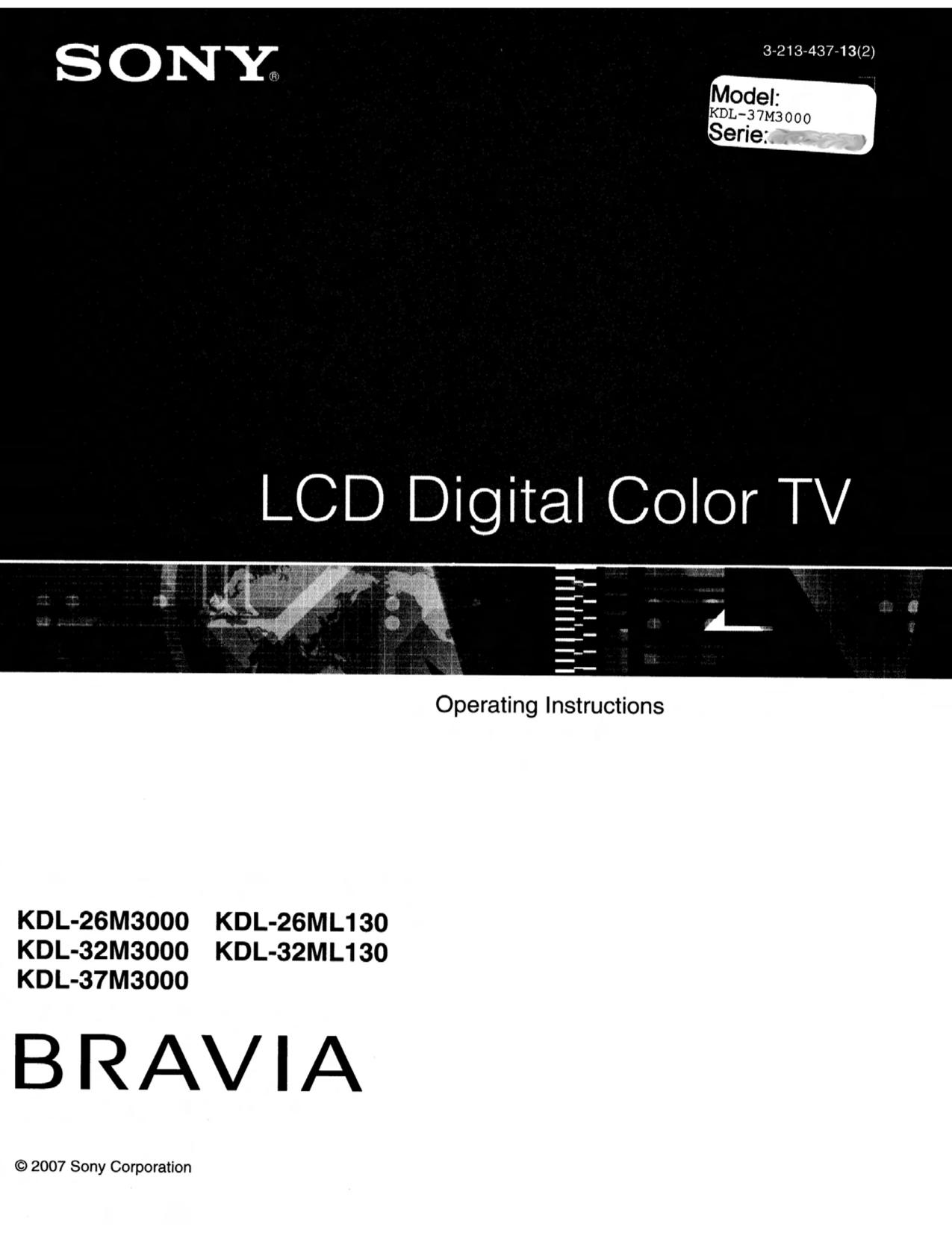 Sony tv user manuals download sony kvm1400e colour tv service manual by download 891 array download free pdf for sony bravia kdl 37m3000 tv manual rh umlib com fandeluxe Choice Image