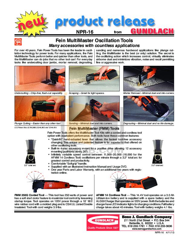 Download free pdf for Fein MultiMaster FMM 250 Oscilating