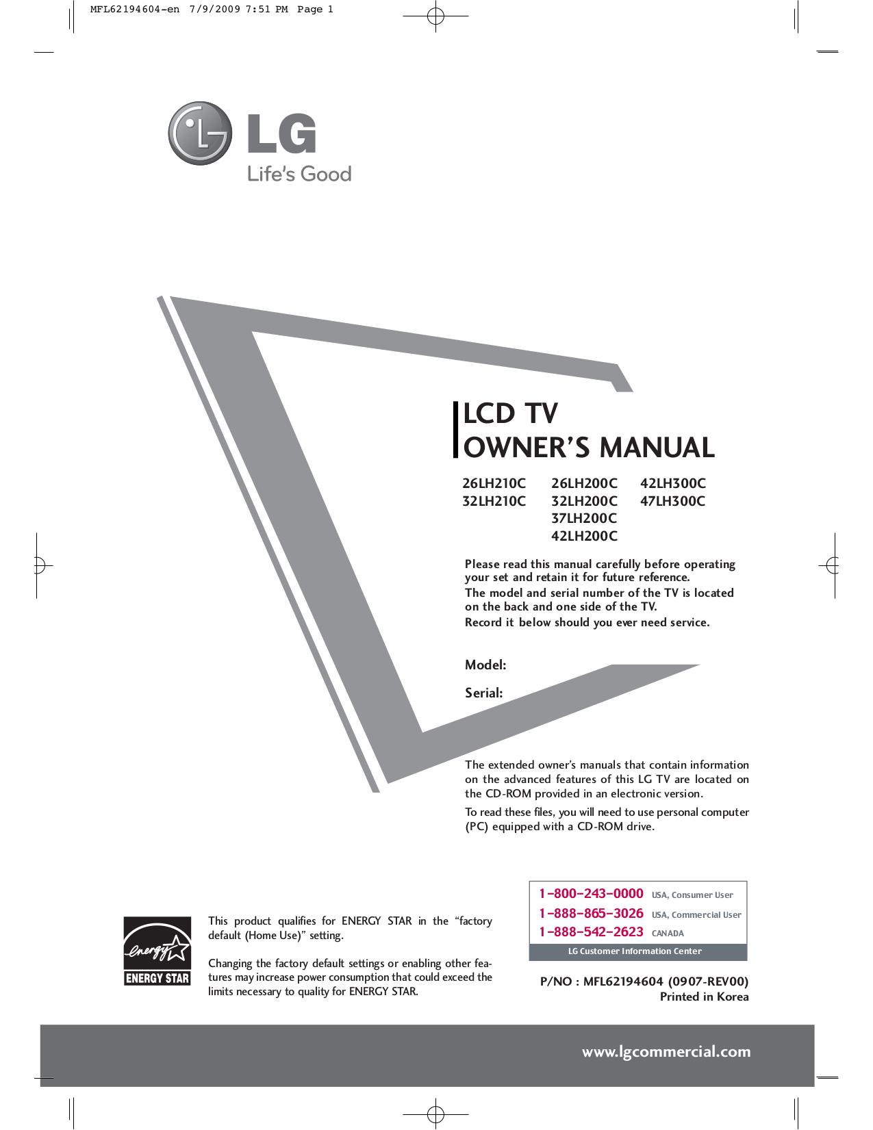 pdf for LG TV 32LH210C manual