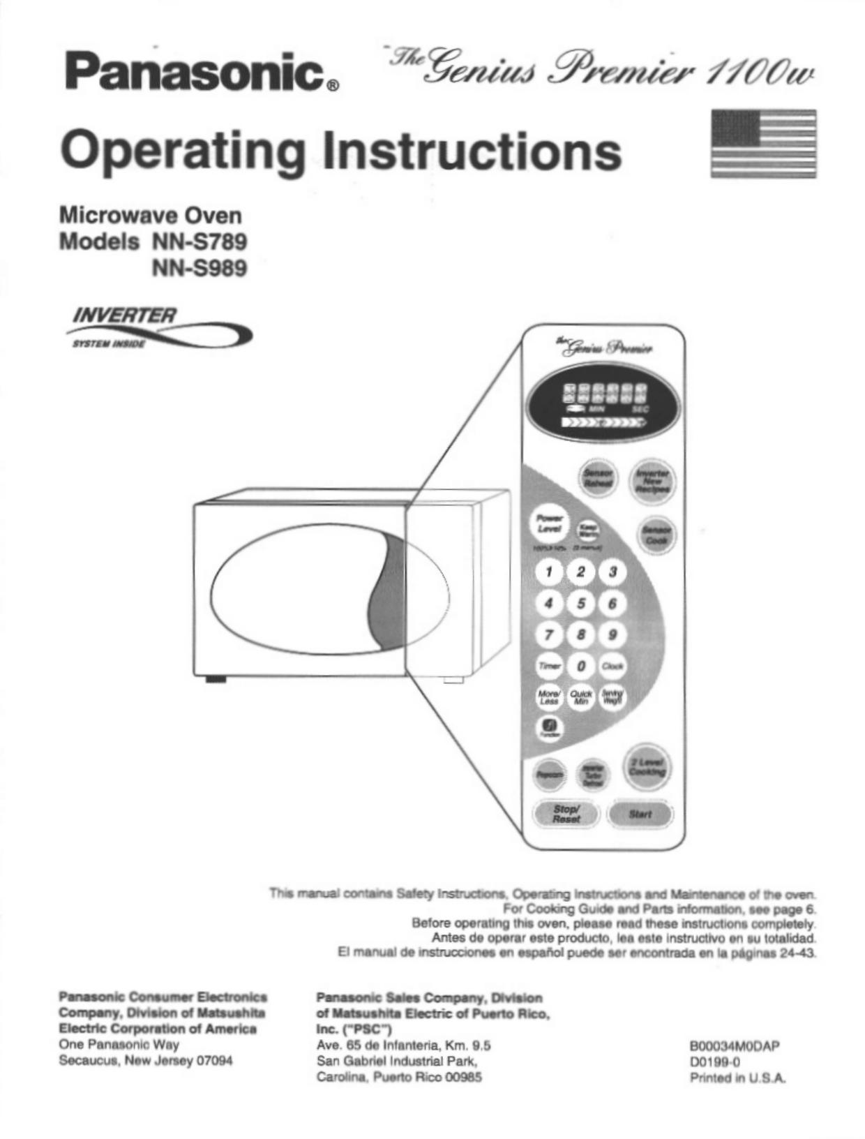 download free pdf for panasonic nn s989 microwave manual rh umlib com Panasonic Inverter Microwave Problems panasonic inverter microwave oven service manual