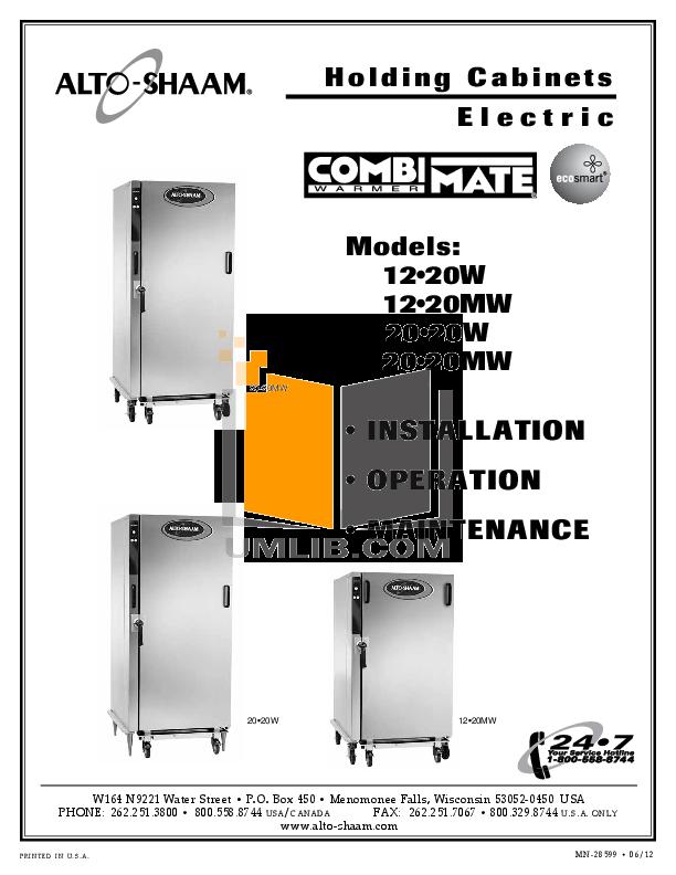 pdf for AltoShaam Other 20-20W Warmers manual