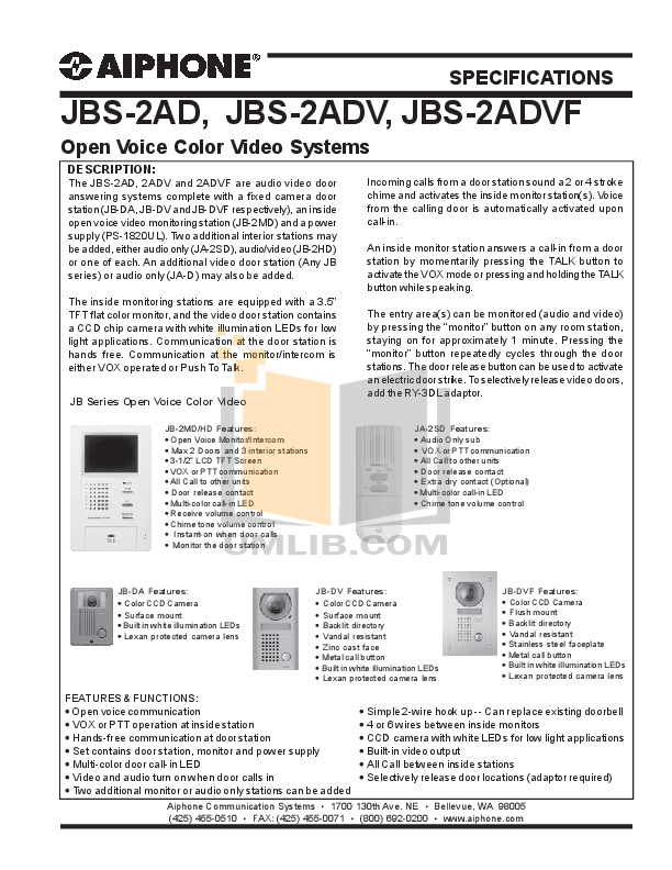 pdf for Aiphone Other JB-2MD Intercoms manual