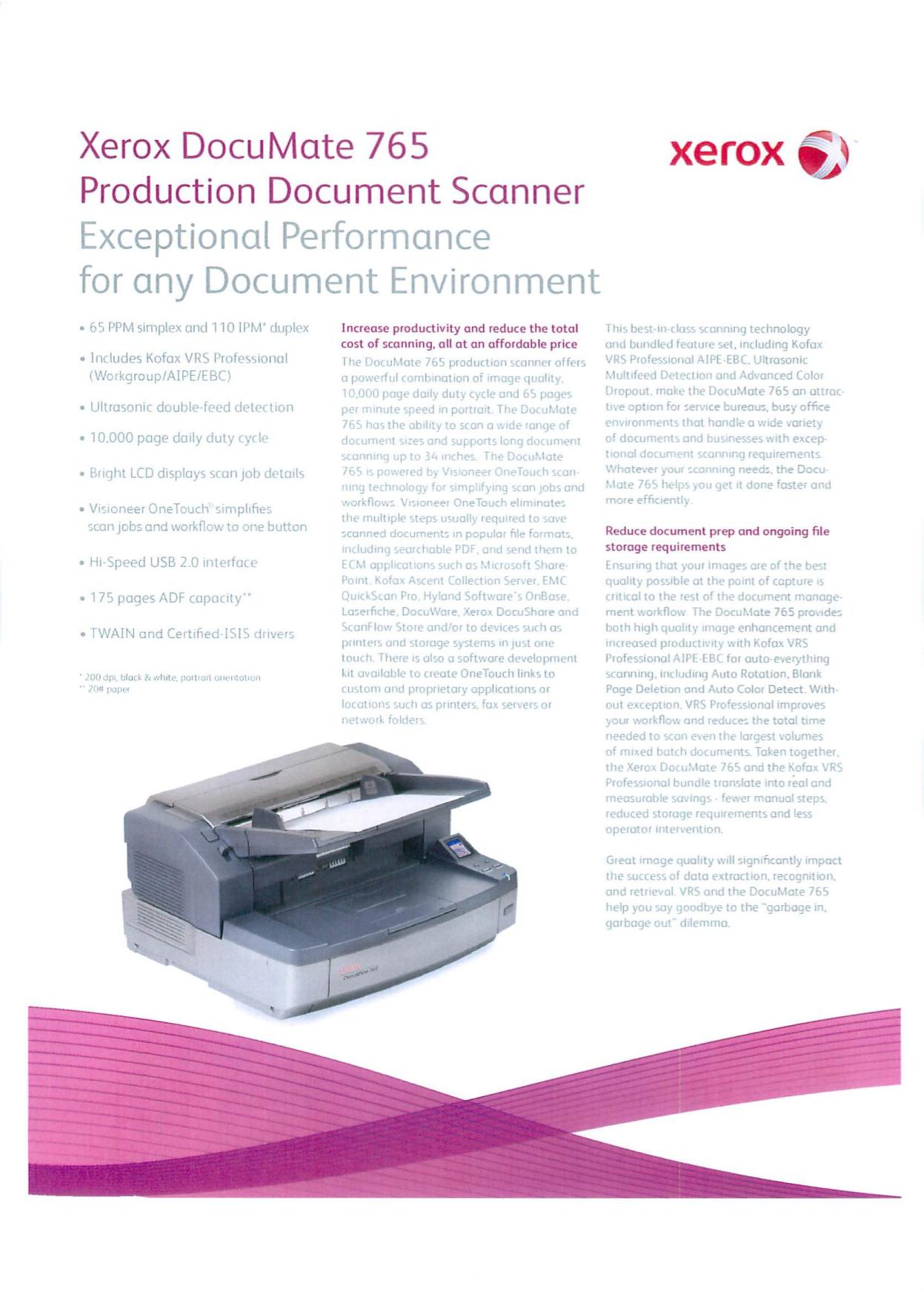 pdf for Xerox Scanner DocuMate 765 manual