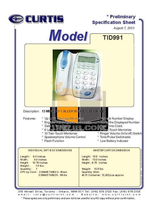 pdf for Curtis Telephone TID991 manual