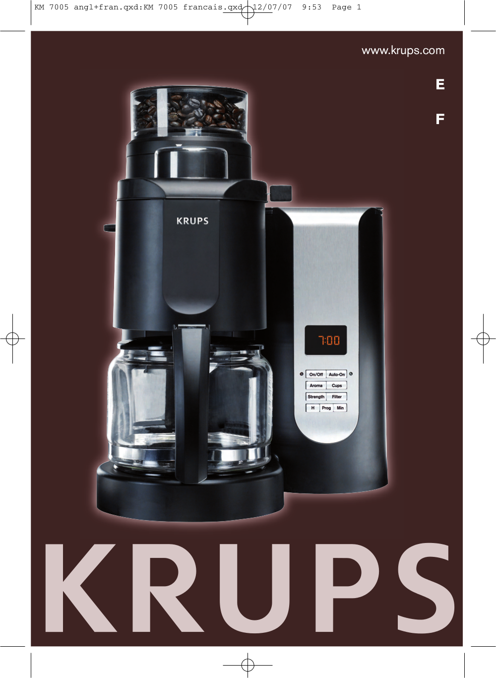 Krups Coffee Maker Km1000 Manual : Download free pdf for Krups KM7000 Coffee Maker manual