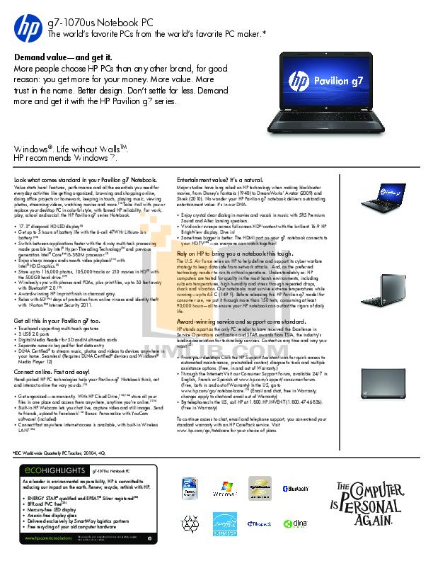 download free pdf for hp pavilion g7 1150 laptop manual rh umlib com HP G7 1070 US hp dl380 g7 user manual