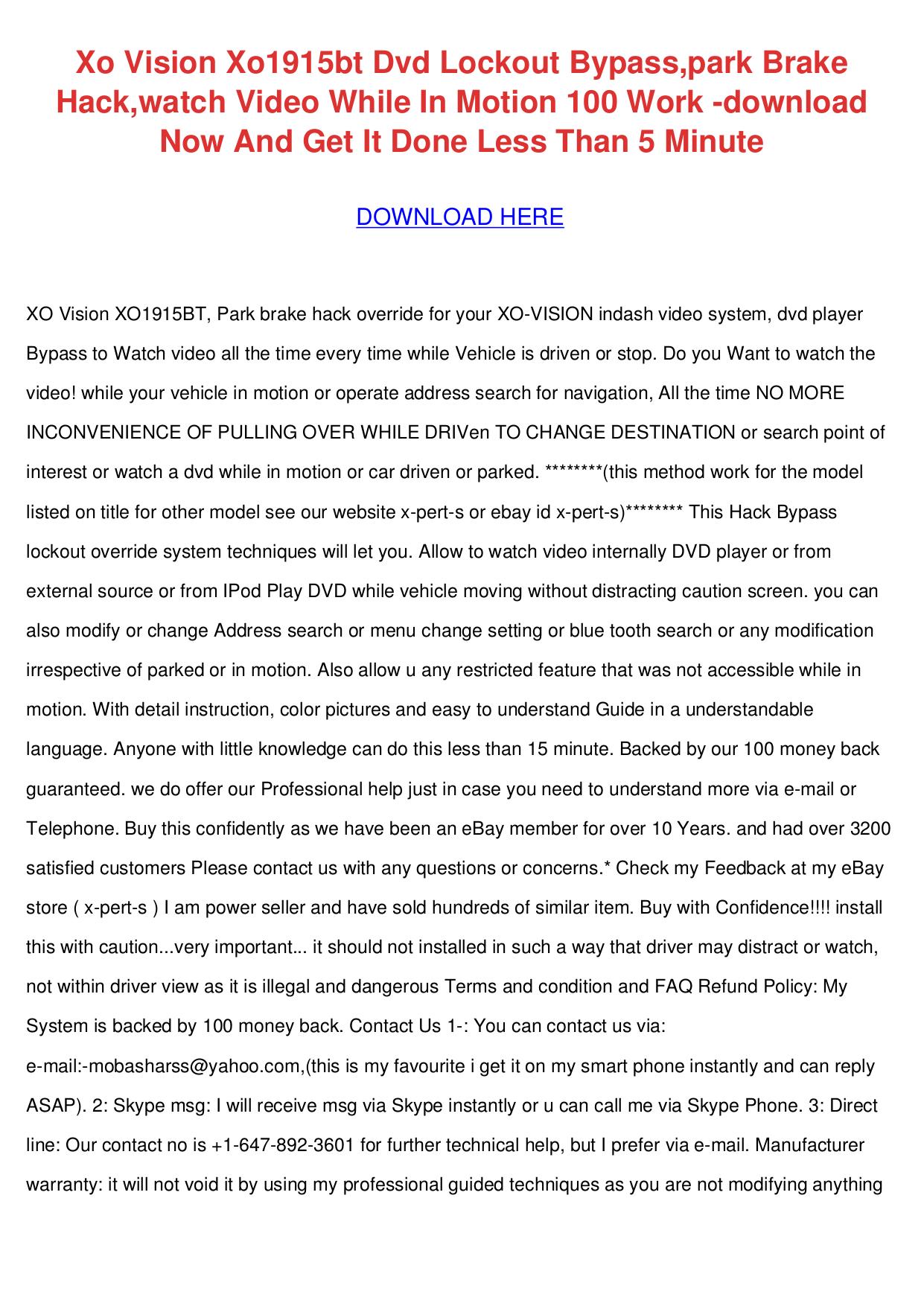 pdf for XOVision Car Video XO1915BT manual