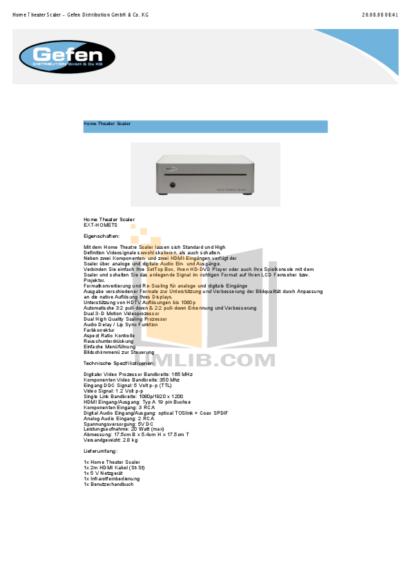 download free pdf for gefen ext homets home theater manual rh umlib com Gefen Fruit GefenPRO 10X4