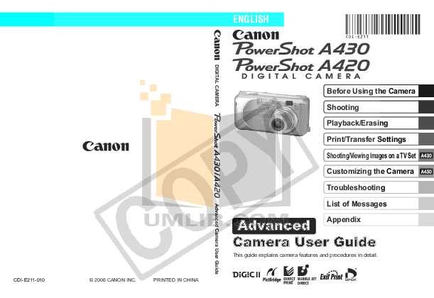 Canon Digital Camera Powershot A420 pdf page preview