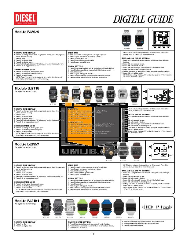 pdf for Diesel Watch DZ7130 manual