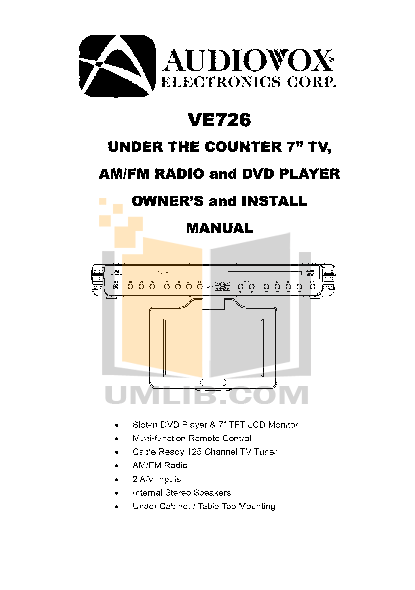 pdf for Audiovox TV VE726 manual