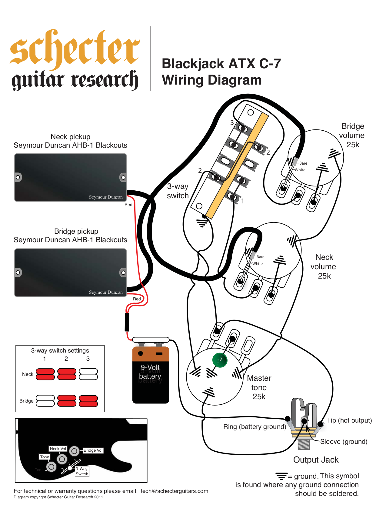 download free pdf for schecter blackjack atx c 1 guitar manual EMG Guitar Wiring Diagrams BlackJack 20ATX 20C 7