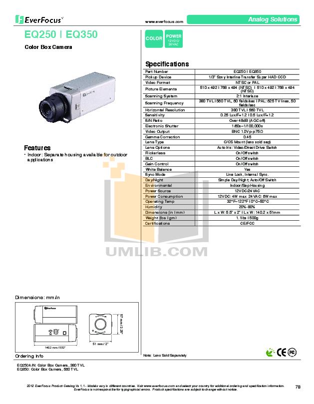 pdf for EverFocus Security Camera EQ350 manual