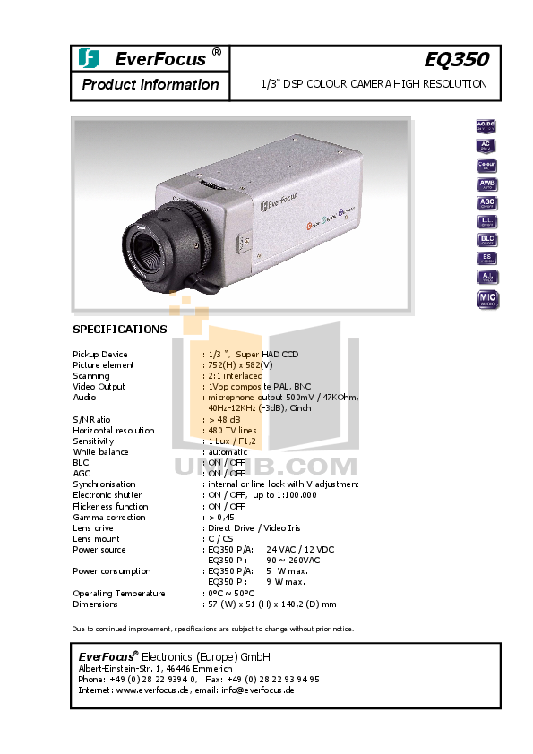 pdf for EverFocus Security Camera EQ350 manual
