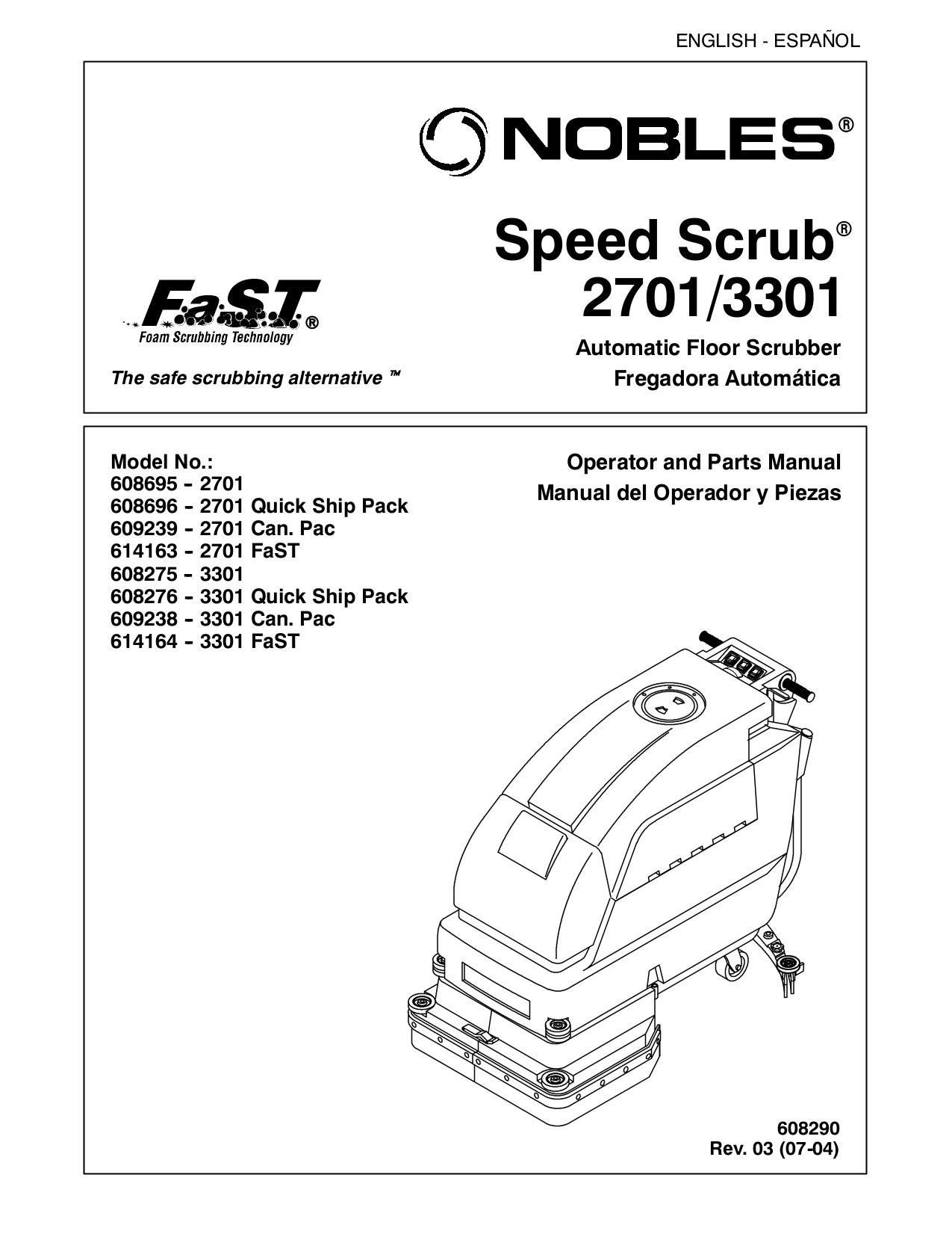 PDF manual for Nobles Other Speed Scrub 3301 Scrubbers