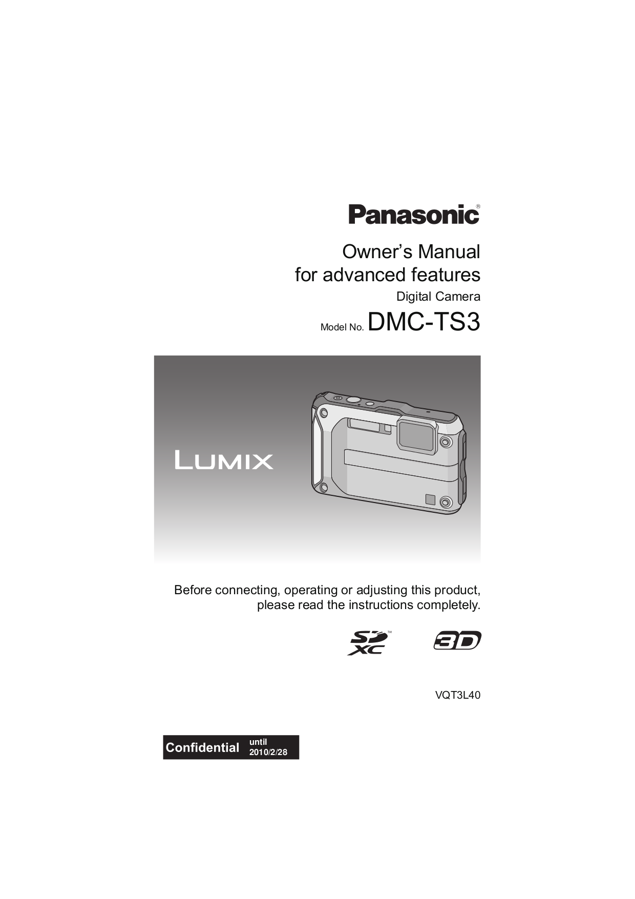 pdf for Panasonic Digital Camera Lumix DMC-TS3 manual