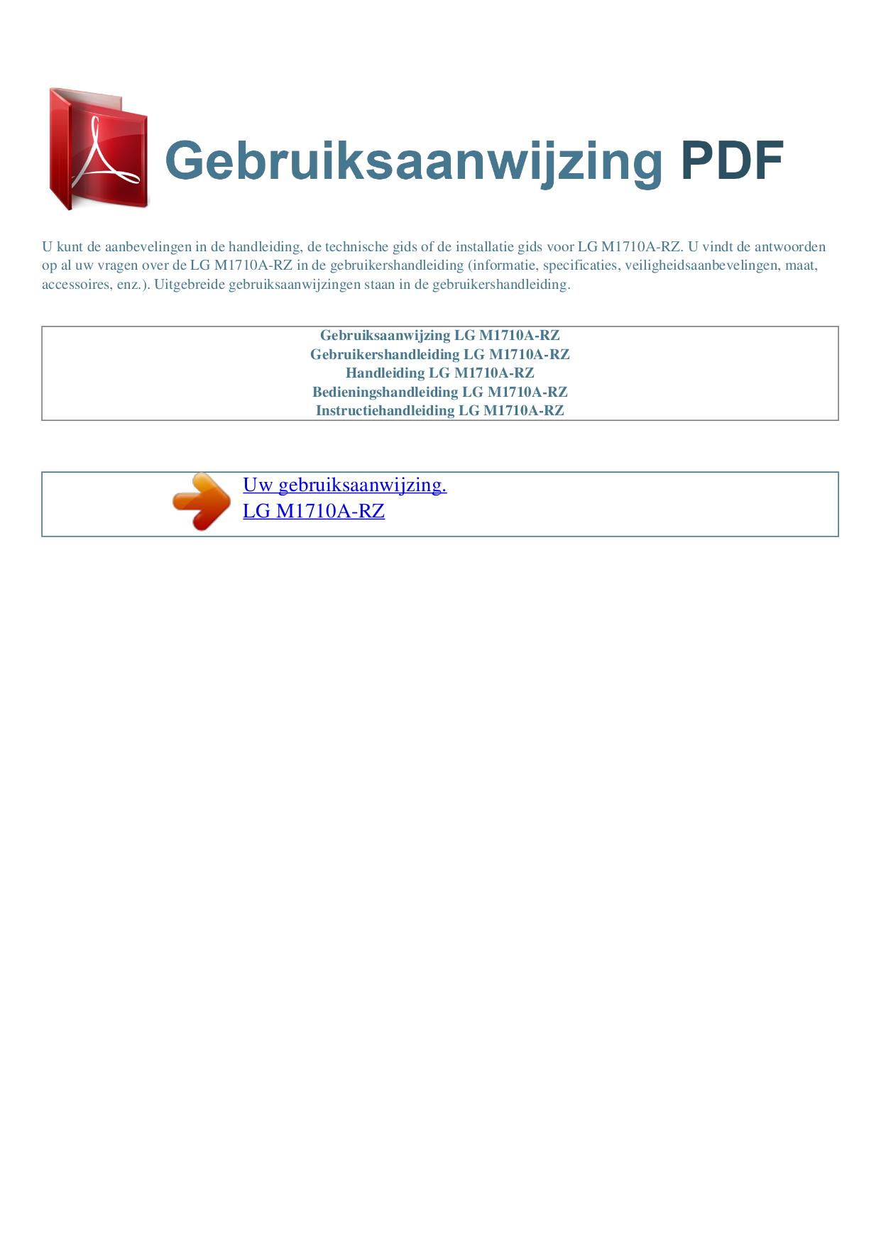 pdf for LG Monitor M1710A manual
