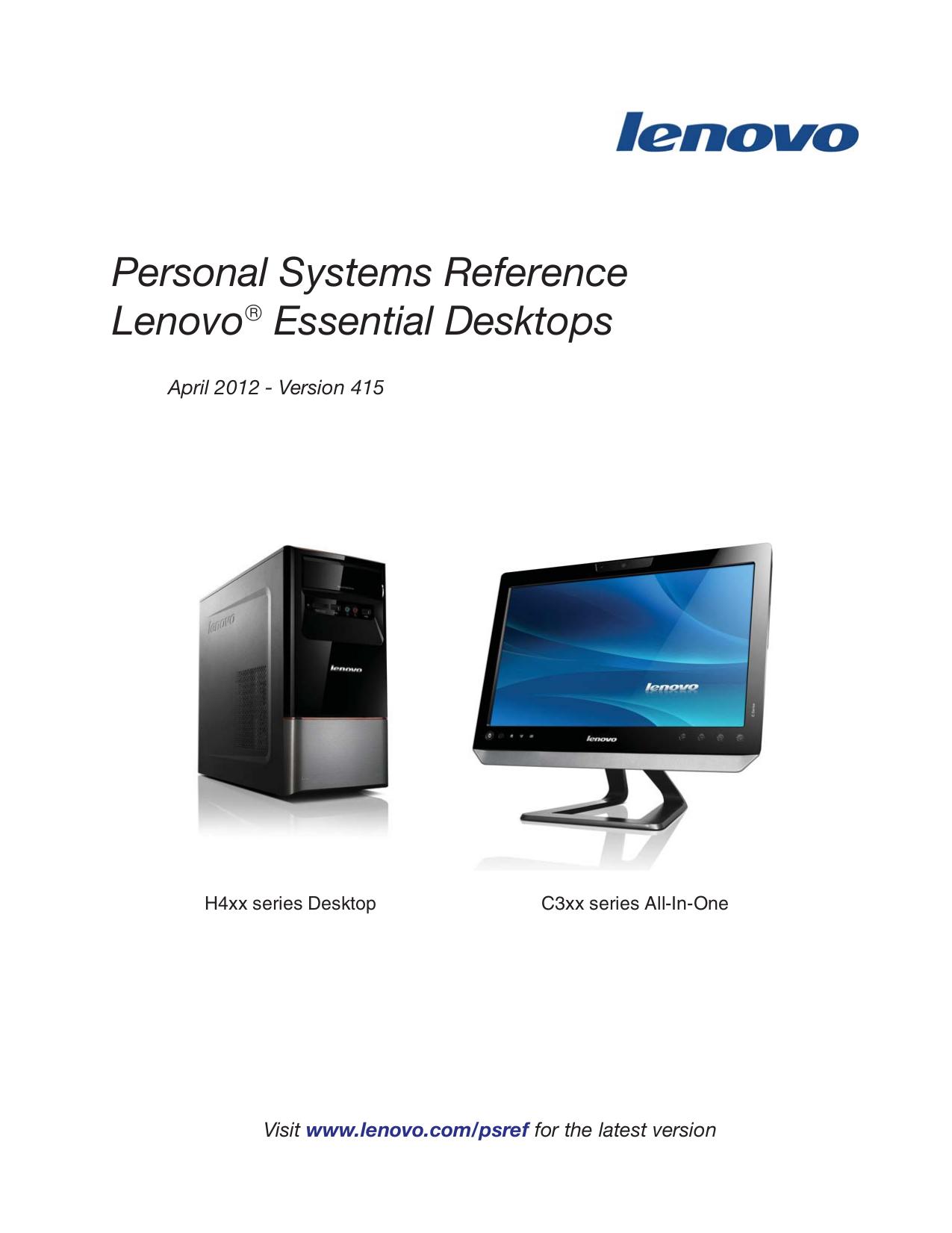 pdf for Lenovo Desktop IdeaCentre H405 7723 manual