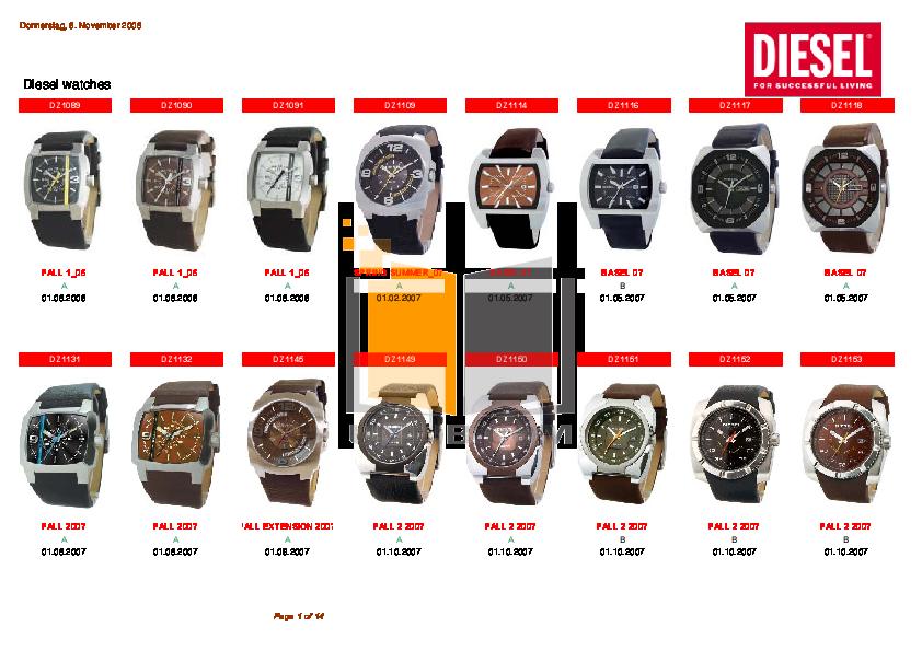 pdf for Diesel Watch DZ1160 manual