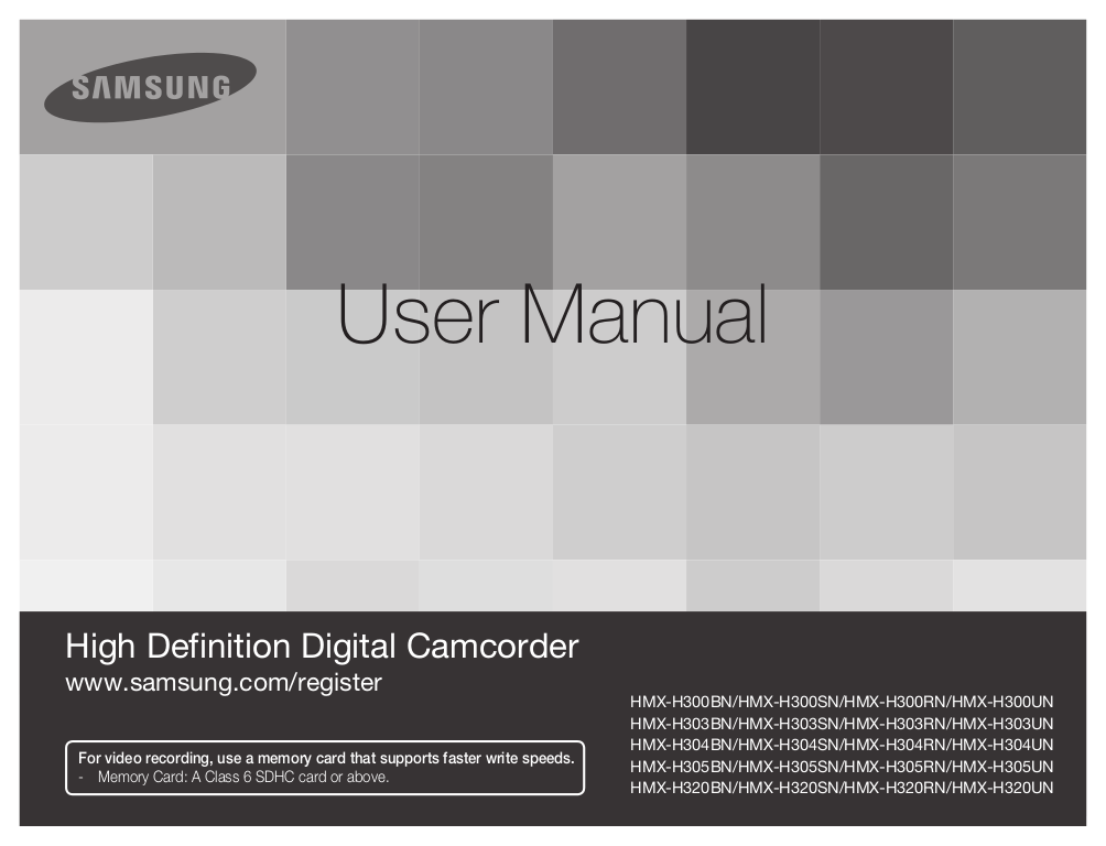 pdf for Samsung Camcorders HMX-H304 manual