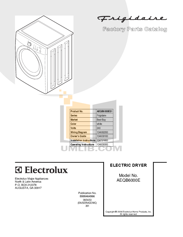 pdf for Frigidaire Dryer AEQB6000ES1 manual