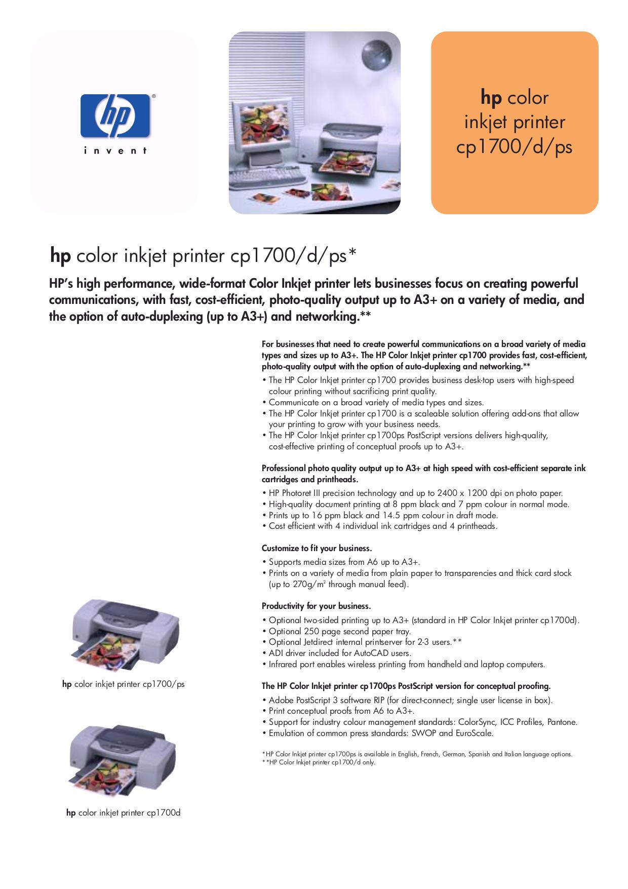 pdf for HP Printer Business Inkjet cp1700 manual