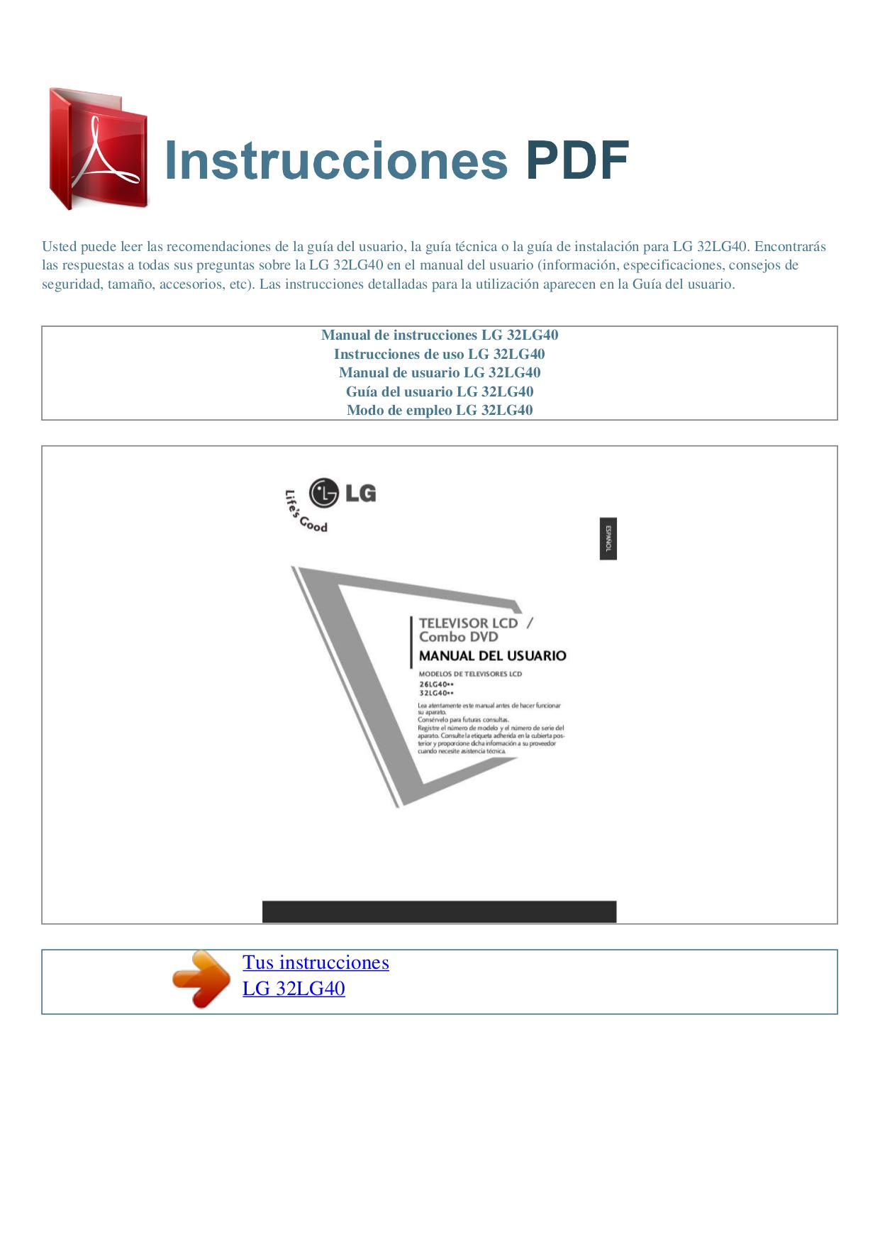 pdf for LG TV 32LG40 manual