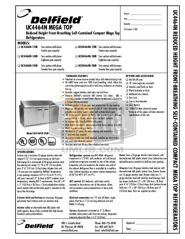 pdf for Delfield Refrigerator UC4464N-12 manual