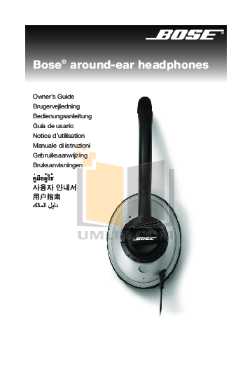 Bose Headphone TriPort Around-Ear Headphones pdf page preview
