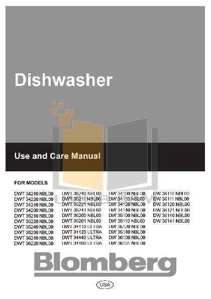 pdf for Blomberg Dishwasher DWT35210 manual