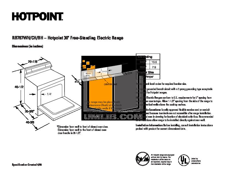 pdf for Hotpoint Range RB787BHBB manual