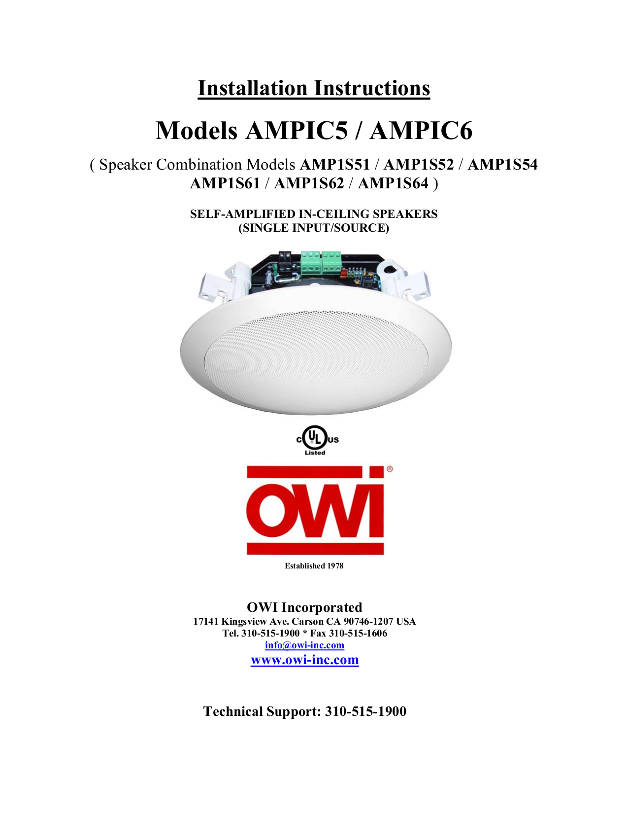pdf for Owi Speaker IC6 manual