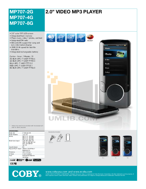 download free pdf for coby mp 707 4gb mp3 player manual rh umlib com Coby MP3 Player Instructions Manual Coby MP3 Player Instructions Manual