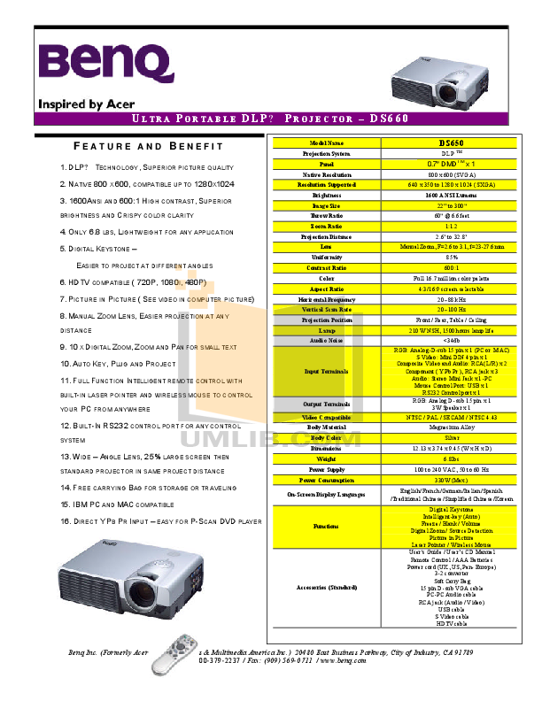 pdf for Benq Projector DS650 manual