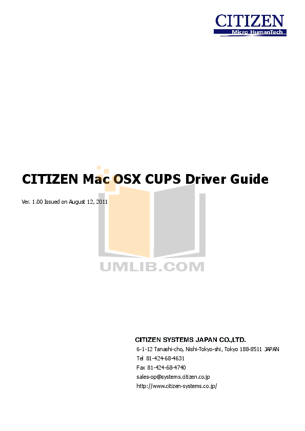 pdf for Citizen Printer CT-S601 manual
