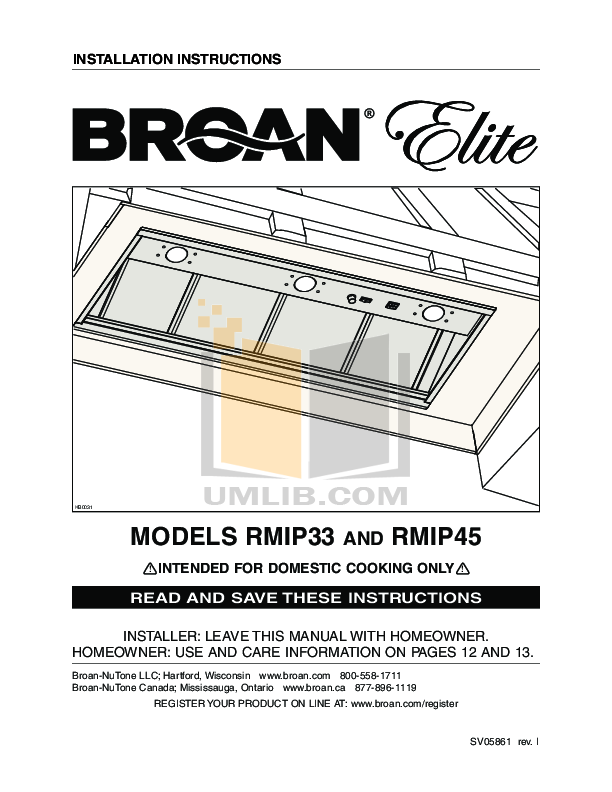 pdf for Broan-NuTone Other P5 Blower Kit manual