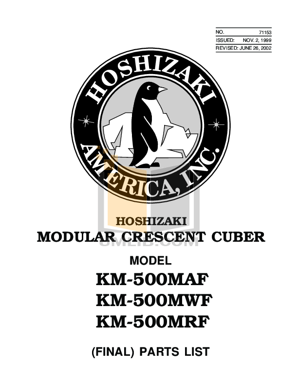pdf for Hoshizaki Other KM-500MAF Cuber Machines manual
